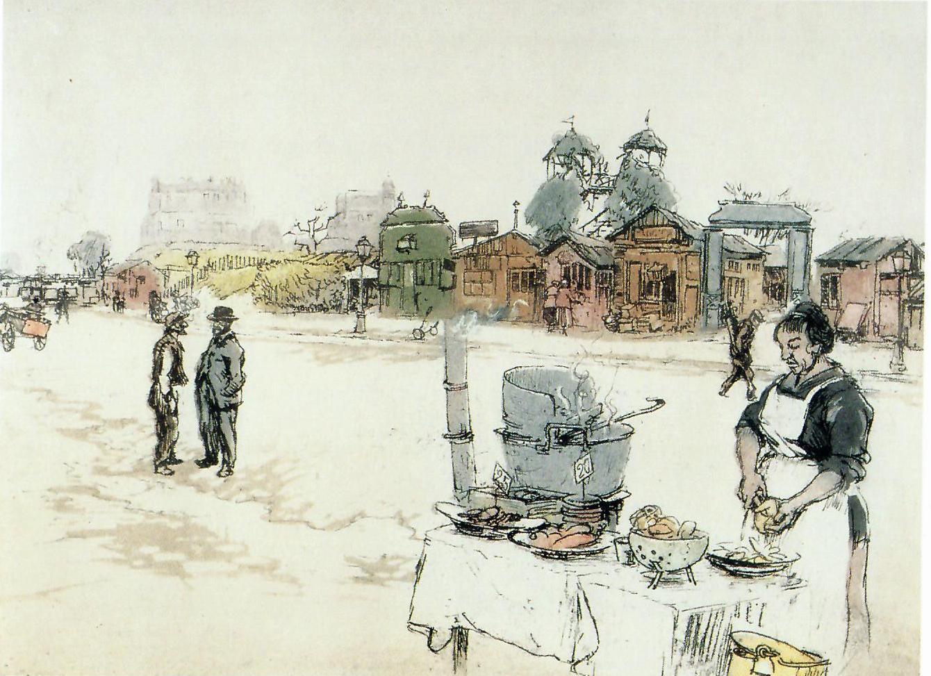 Eugène Véder, la marchande de frites, vers 1920, eau-forte originale